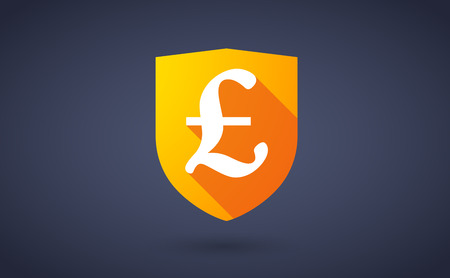 Illustration of a long shadow shield icon with a currency sign Vector