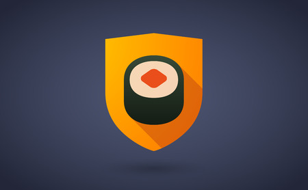 Illustration of a long shadow shield icon with a sushi Vector
