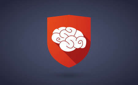 Illustration of a long shadow shield icon with a brain Vector