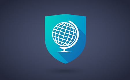 safe world: Illustration of a long shadow shield icon with a world globe Illustration