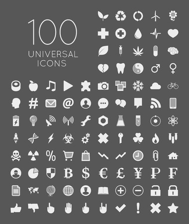 leisure time: Illustration of 100 universal icons of business, science, health, security, education, technology, leisure time and food Illustration