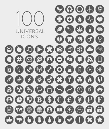 leisure time: Set of 100 universal rounded icons of business, science, health, security, education, technology, leisure time and food