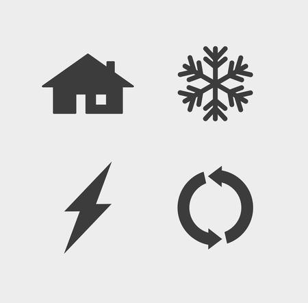 Illustratie van een geïsoleerde ecologie en verhitting icon set