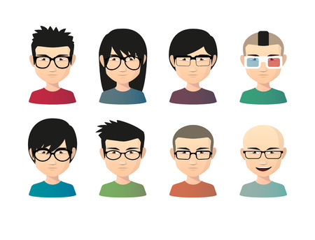 japanese style: Illustration of an isolated set of  asian male avatars with various hair styles wearing glasses