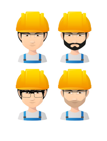 Illustration of an isolated set of asian male avatars wearing working helmets Vector