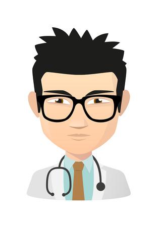 Illustration eines isolierten asiatischen Arzt avatar