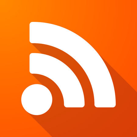 rss feed: Illustration of a long shadow icon with a RSS feed sign