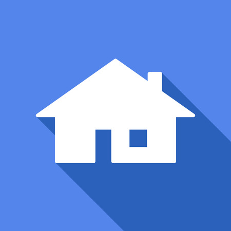 house icon: Illustration of a long shadow icon with a house