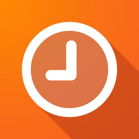 Illustratie van een lange schaduw icoon met een klok