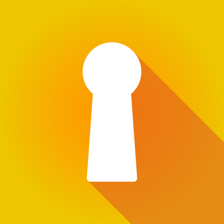 key hole: Illustration of a long shadow icon with a key hole