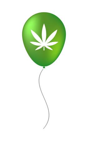 Illustration of a vector balloon with a marijuana leaf