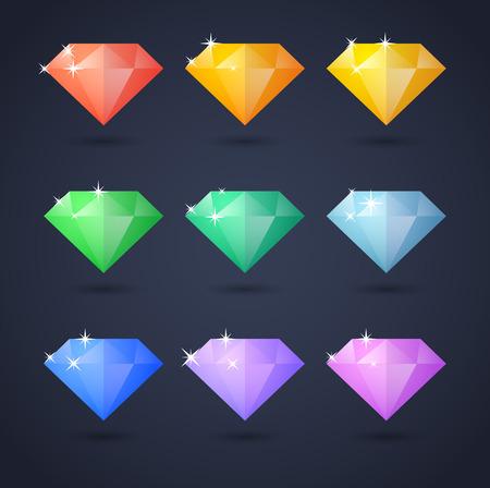 Illustration of a colored diamonds icon set