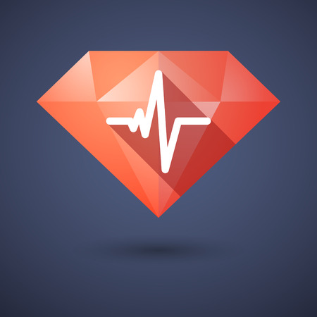 beat: Illustration of a diamond icon with a heart beat sign