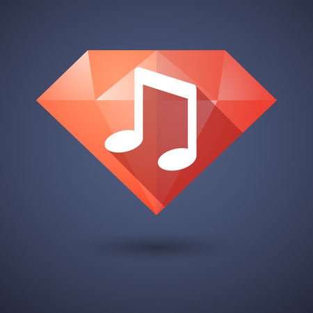 Illustration of a diamond icon with a note music Vector