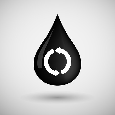 lubricant: Illustration of an oil drop icon with a recycle sign