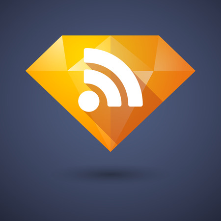 diamond background: Illustration of a diamond icon with a RSS sign