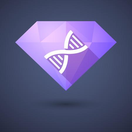 Illustration of a diamond icon with a DNA sign Ilustração