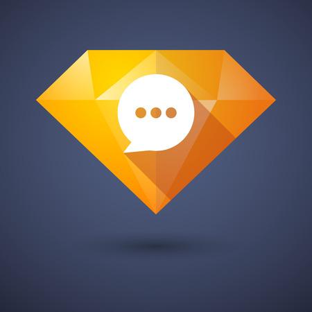 Illustration of a diamond icon with a comic balloon Vector