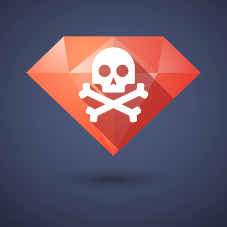 Illustration of a diamond icon with a skull Vector