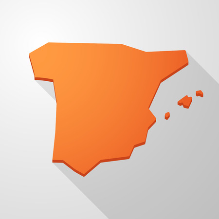 spain map: Illustrazione di una Spagna mappa icona arancione