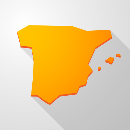 Illustration of a yellow Spain map icon Illustration