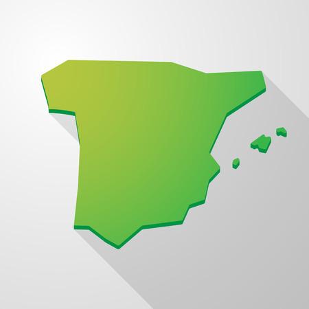 spain map: Illustrazione di una Spagna Mappa icona verde