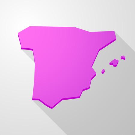 spain map: Illustrazione di una rosa Spagna Mappa icona Vettoriali
