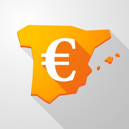 spain map: Illustrazione di una mappa un'icona Spagna con un segno di euro Vettoriali