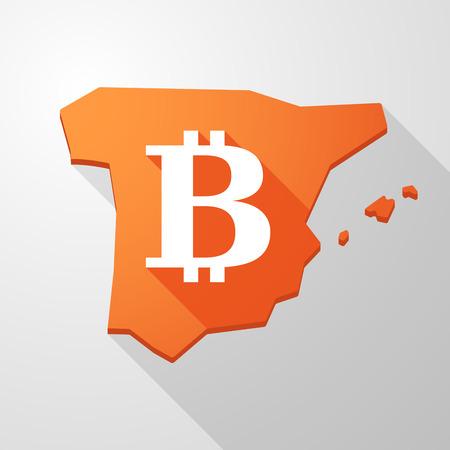 spain map: Illustrazione di una mappa un'icona Spagna con un segno bitcoin