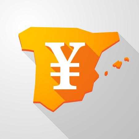 yen sign: Ilustraci�n de un icono de mapa de Espa�a con una muestra de Yenes