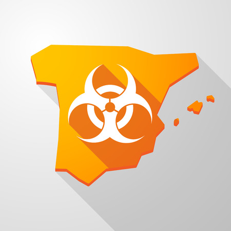 biohazard: Illustration of a Spain map icon with a biohazard sign