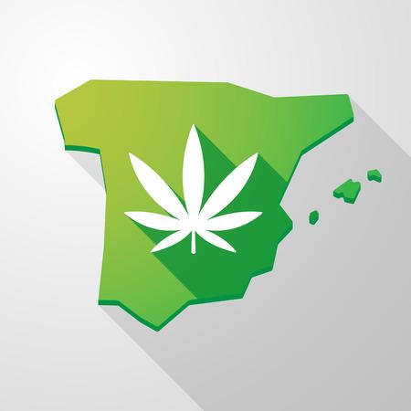 spain map: Illustrazione di una mappa un'icona Spagna con una foglia di marijuana