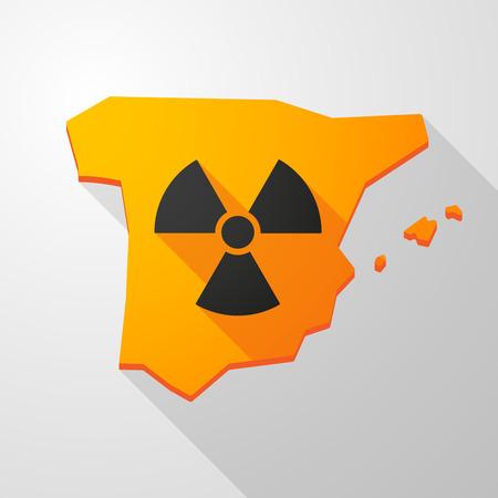 radiactividad: Ilustraci�n de un icono de mapa Espa�a con un signo de la radiactividad