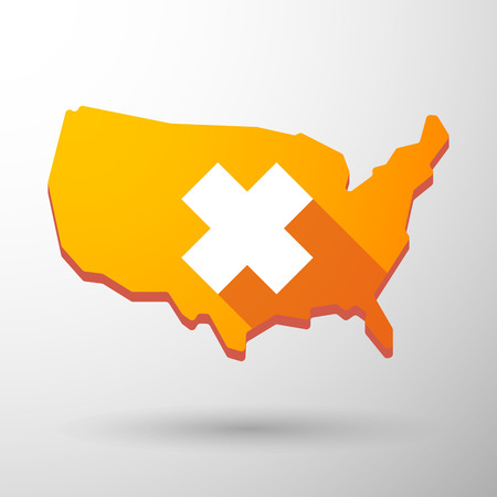 oxidizing: Illustration of an isolated USA map icon with an irritating substance sign Illustration