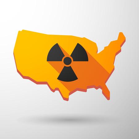 radiactividad: Ilustraci�n de un icono de mapa aislado EE.UU. con un signo de la radiactividad