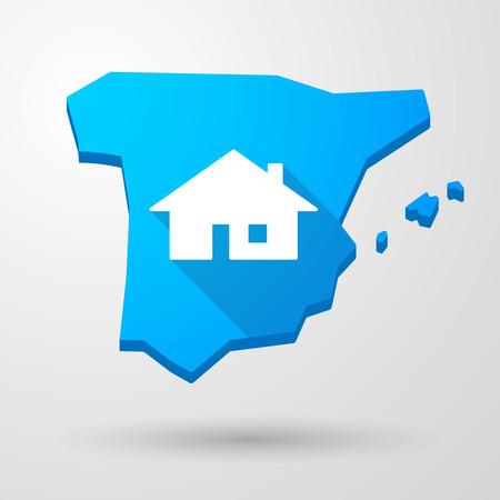 investment real state: Ilustraci�n de un icono de mapa de Espa�a con una casa