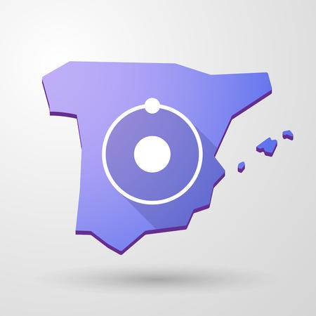 spain map: Illustrazione di una mappa icona Spagna con un atomo Vettoriali