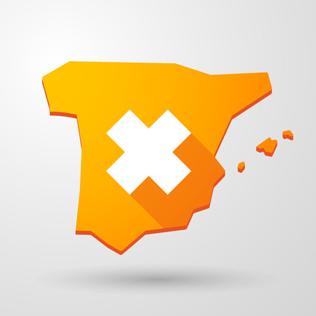 irritant: Illustration of a Spain map icon with an irritating substance sign