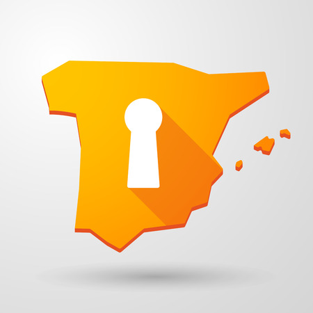 spain map: Illustrazione di una mappa un'icona Spagna con un buco della serratura Vettoriali
