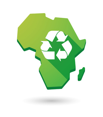 africa continent: Isolated Africa continent map icon with a recycle sign