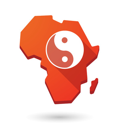 karma design: Isolated Africa continent map icon with a ying yang Illustration