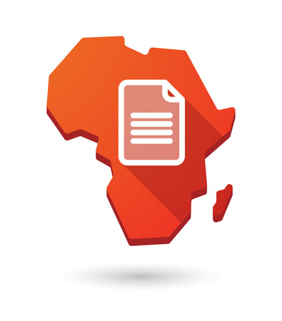 Isolated Africa continent map icon with a document Vector