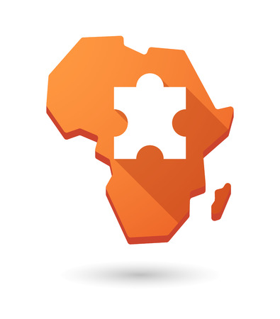 Isolated Africa continent map icon with a puzzle piece Vector