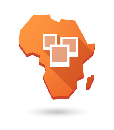 Isolated Africa continent map icon with a bunch of photos Vector