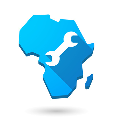 monkey wrench: Isolated Africa continent map icon with a wrench
