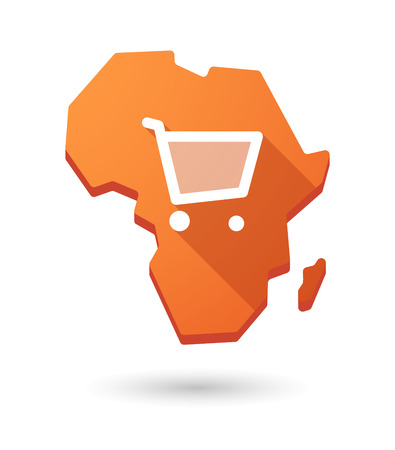 african basket: Isolated Africa continent map icon with a shopping cart Illustration