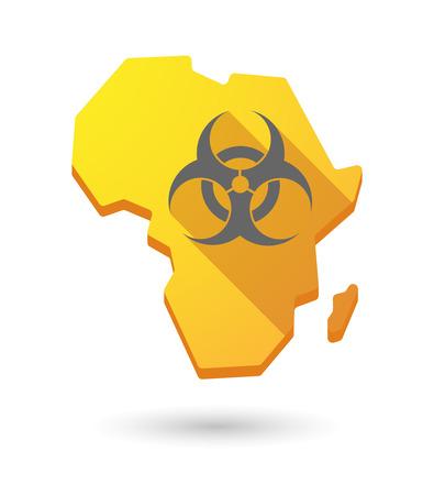 riesgo biologico: Aislados mapa continente �frica icono con un signo de riesgo biol�gico Vectores