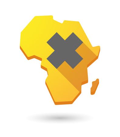 irritant: Isolated Africa continent map icon with an irritating substance sign