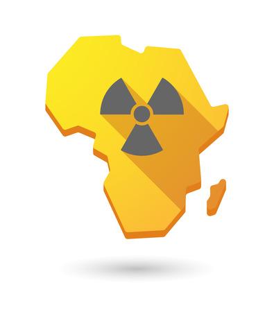 radiactividad: Aislados mapa continente �frica icono con un signo de la radiactividad