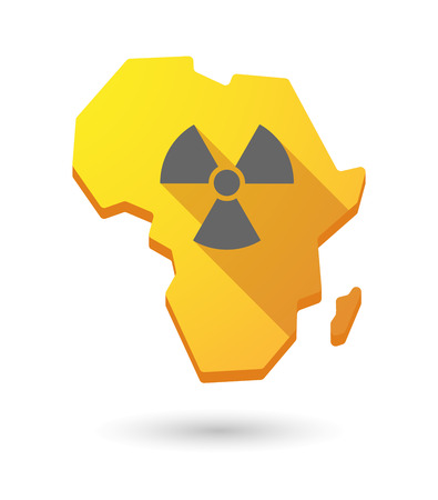 radioactivity: Isolated Africa continent map icon with a radioactivity sign